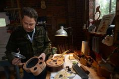 Russ Morin's handmade ukuleles. Russ in the shop. russmorin.com