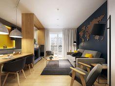 sala e cozinha integradas; amarelo + azul; madeira; cinza;