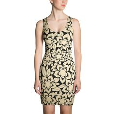 Dark Floral Print - Beige Fitted Dress - DogzPrinted