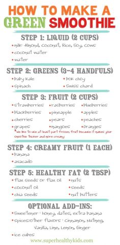 How to make a green smoothie ~ have one every morning for a quick and healthy breakfast!  Prep the ingredients and keep them in the refrig for a delicious meal or snack :)