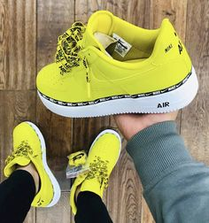 Nike air force 1 mustard yellow - Pin to Pin Cute Sneakers, Sneakers Mode, Sneakers Fashion, Shoes Sneakers, Shoes Heels, Yellow Sneakers, Buy Shoes, Nike Air Force, Nike Air Max