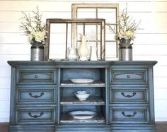 Items similar to Sold!! Painted Navy blue buffet, sideboard, entryway table, hutch, colbalt blue with navy blue on Etsy