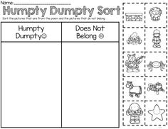 Humpty Dumpty engaging activities that can be used for an entire days worth of sub work. Includes reading, sequencing, math , writing, grammar, sight word vocabulary, labeling, sorting and extras all related to hungry dumpty!