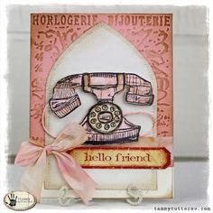 Hello Friend: Tim Holtz Telephone Blueprint Card by Tammy Tutterow