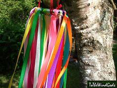 Rainbow colored ribbon mobile WindWalker yard art by ToTheWindGods