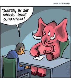 Thema van de cartoon op deze pagina: Dokter help, ik zie overal roze olifanten, klik op de cartoon om naar de volgende te gaan