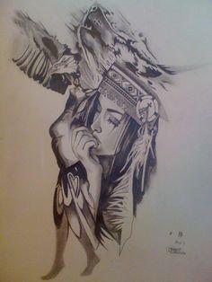 3be21c123 Wolf Girl Tattoos, Eagle Tattoos, Headdress Tattoo, Princess Tattoo, Tattoo  Stencils,