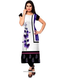 Add a young burst of shade for the wardrobe with this multi colour faux crepe casual kurti. This wonderful attire is displaying some great embroidery done with print work. (Slight variation in color, ...