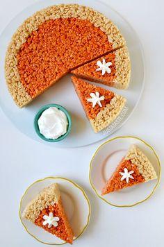 Pumpkin Pie Rice Krispies Treats recipe via justataste.com | A quick and easy holiday dessert recipe for Thanksgiving!