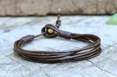 Rocker Leather Bracelet by brasslady on Etsy,