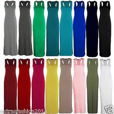 Women ladies #jersey long #summer vest racer #muscle back maxi dress plus size 8-,  View more on the LINK: http://www.zeppy.io/product/gb/2/161662010633/