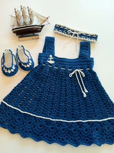 Baby Sundress Bootie Set Blue Nautical by ButterflyKissesLLC, $59.99