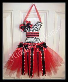 Zebra/Red Mini Tutu Hair Bow Holder