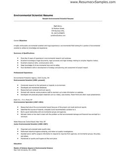 environmental science resume sample httpwwwresumecareerinfoenvironmental