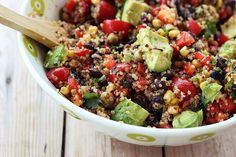 Fiesta Quinoa Salad with black beans, avocado and a little heat // Tasty Yummies