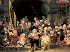 """Barokki - Rembrandt """"Yövartio"""" Ankkaversio (taustaa)."""