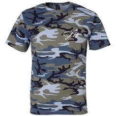 Jake Paul Blue Camo Shirt ($35) ❤ liked on Polyvore featuring tops, camouflage shirts, camo shirt, camoflauge shirt, blue camouflage shirts and blue shirt