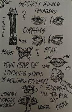 Indie Drawings, Dark Art Drawings, Sketchbook Drawings, Art Drawings Sketches Simple, Pencil Art Drawings, Doodle Drawings, Sketch Drawing, Sketching, Arte Grunge