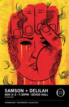 Samson + Delilah Grand Rapids Opera Poster, illustrator Edel Rodriguez