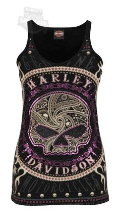 Amazon.com: Harley-Davidson Womens Gates Of Skulls Rhinestones Sleeveless Tank: Clothing