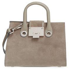 Jimmy Choo 'Small Riley' Suede Crossbody Bag ($1,175) ❤ liked on Polyvore featuring bags, handbags, shoulder bags, light khaki, brown handbags, suede purse, brown shopping bags, brown crossbody purse and jimmy choo handbag