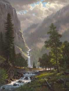 Highland Song by Mark Keathley ~ mountains waterfall stream elk