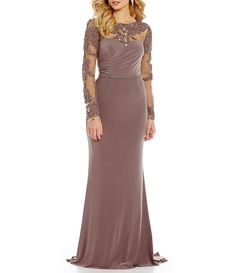 Lasting Moments Illusion Jewel-Embellished Lace-Applique Gown