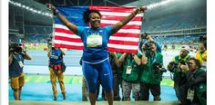 MICHELLE CARTER!!! first american woman to win gold in shot put. making history!!
