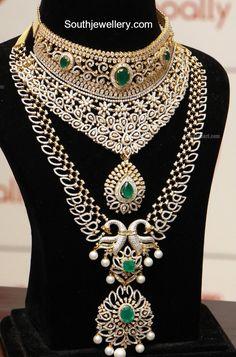 Diamond Emerald Choker and Haram Set - Indian Jewellery Designs Indian Jewelry Sets, Bridal Jewelry Sets, Wedding Jewelry, Bridal Jewellery, Bridal Sets, Unusual Jewelry, India Jewelry, Diamond Choker Necklace, Diamond Jewellery