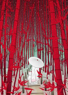 Yuki- onna #Japan #spirit #illustration #kids #teen #umbrella #bamboo #night #red #kimono #japanese #folklore #tradition #culture