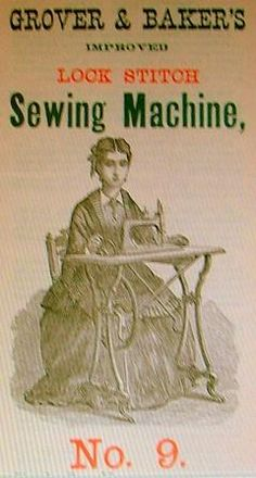 The Grover & Baker Lockstitch model No9 complete with grumpy lady!