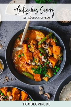 Vegan Indian sweet potato curry with lots of vegetables. Super creamy and very mild. Vegan Indian sweet potato curry with lots of vegetables. Super creamy and very mild. Burger Recipes, Lunch Recipes, Vegetarian Recipes, Healthy Recipes, Drink Recipes, Delicious Recipes, Indian Food Recipes, Italian Recipes, Ethnic Recipes