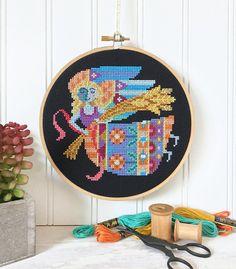 Virgo zodiac sign Satsuma Street modern cross stitch