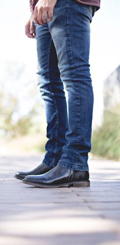 Medium washed denim look with black leather chelsea BEDSTU boots.