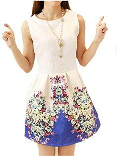 JELLO Women's Slim Round Neck Sleeveless Flower Print Blue Dress Large jello http://www.amazon.com/dp/B00WQ0U5CA/ref=cm_sw_r_pi_dp_jnspvb0T095S3