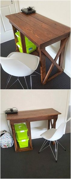 If you have been in search of the simple and creative table design, then having a look at this image will make you choosing task a lot easy. This picture give you an idea about the creation of the superb wood pallet table piece as shared in the midst of it. It can act as best out to be the study purposes.