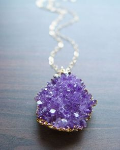 Lavender amethyst druzy necklace