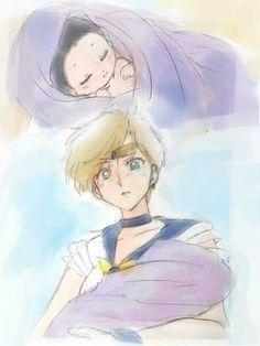 Aww. Reborn infant Hotaru (Sailor Saturn) and her Haruka-papa (Sailor Uranus).