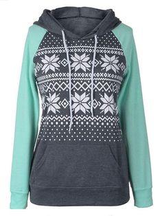 #Fashionmia - #Fashionmia Kangaroo Pocket Snowflake Printed Hoodie - AdoreWe.com