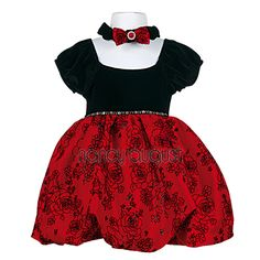 Black Velvet and Red Taffeta Damask Pattern Baby Holiday: This bubble sleeve black velvet baby holiday dress is what you have been waiting for this upcoming holiday season! This holiday red dress features a short bubble sleeve stretch black velvet with an empire waistline. The skirt is made of a beautiful red and black taffeta damask floral pattern. A row of shiny sequin accents the waistline or a sash can be used. This red baby dress finishes with a head bow encrusted with rhinestones. Perf...