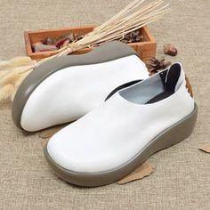 Fashionable Genuine Leather Slip On Platform Retro Round Toe Flat Shoes -  NewChic Mobile New Chic ff481885ac4ed