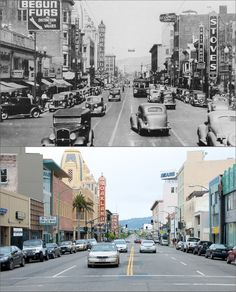 Telegraph Avenue, Oakland, California, then and now.