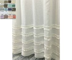 Linen Shower Curtain With 4 Rows Of Ruffles 72x72 72x85 72x94 White Grey Cream Pink Blue Stripe Chevron 40 Color Patterns