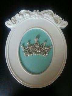 Princess Baby Girl Nursery decor or Zeta Tau Alpha ZTA Framed Pearl Crown in Tiffany & Co. Theme!