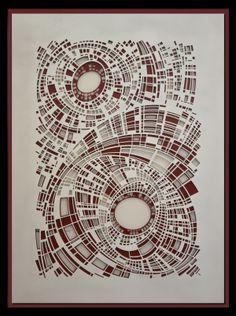 Elliptic 111 by Vaughn Horsman | Caiger Contemporary Art   High detail relief sculpture. Enamel paint on resin sheet, matt surface finish  Size 92 x 71 cm, Edition of 10  Price: £1,270   #art #caigerart #gallery #contemporary   http://www.caigerart.com/browse/vaughn-horsman/elliptic-111