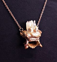 Crystals and Metal Bone Oddities Pendant. Bone jewelry by CleverKimsCurios