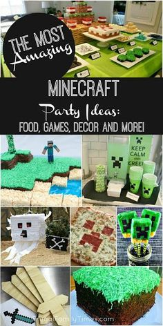 The most amazing collection of Minecraft birthday party ideas. Food (and cake) how to make minecraft pinatas toys games crafts printables and decorations. Such a fun party for boys and girls! Painting Moving Decor and Organization Minecraft Pinata, Minecraft Party Games, Minecraft Party Decorations, Minecraft Food, Amazing Minecraft, Birthday Party Decorations, Minecraft Houses, Minecraft Crafts, Parties Decorations