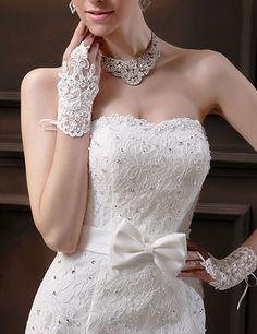 Fingerless Short Paragraph Elegant Rhinestone Bridal Wedding Gloves White  Bröllop Brud 0ba181ab4d128