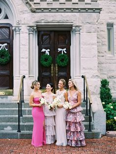 There's mix-and-match bridesmaids gowns, and then there is the awesome collection of sparkly, hot pink, and pastel pink gowns worn in this wedding squad. Hot Pink Bridesmaids, Emerald Green Bridesmaid Dresses, Printed Bridesmaid Dresses, Always A Bridesmaid, Mismatched Bridesmaid Dresses, Wedding Bridesmaids, Bridesmaid Gowns, Pnina Wedding Dresses, Pretty