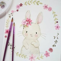 Baby Ilustration I show you one of the illustrations I did for Paul & Clara that is already part of . Cute Illustration, Watercolor Illustration, Watercolor Paintings, Watercolours, Bunny Drawing, Bunny Art, Cute Drawings, Animal Drawings, Watercolor Animals